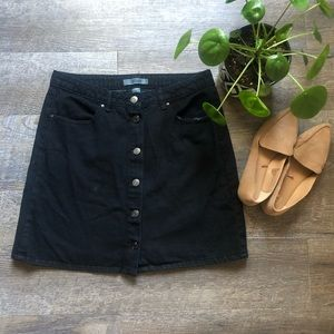 Refuge black button up jean skirt